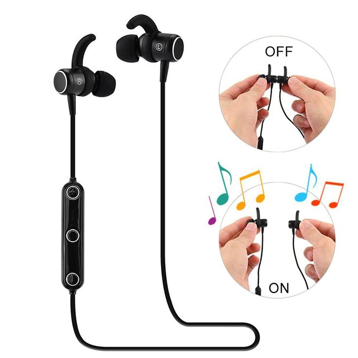 Ubit Instant Mode Bluetooth Headphones Wireless Earbuds In-ear Noise Cancelling Earphones with Magnetic Automatic Turning On/Off for Running(Black). Built-in Magnet Smart Design---The two sides are attracted with each other to power off, and separated to power on intelligently. This wireless headphones are much easier to turn on/off than clicking or pressing the key while camping, biking, jogging, running or other exercising. You can wear the bluetooth earbuds like necklaces around your…