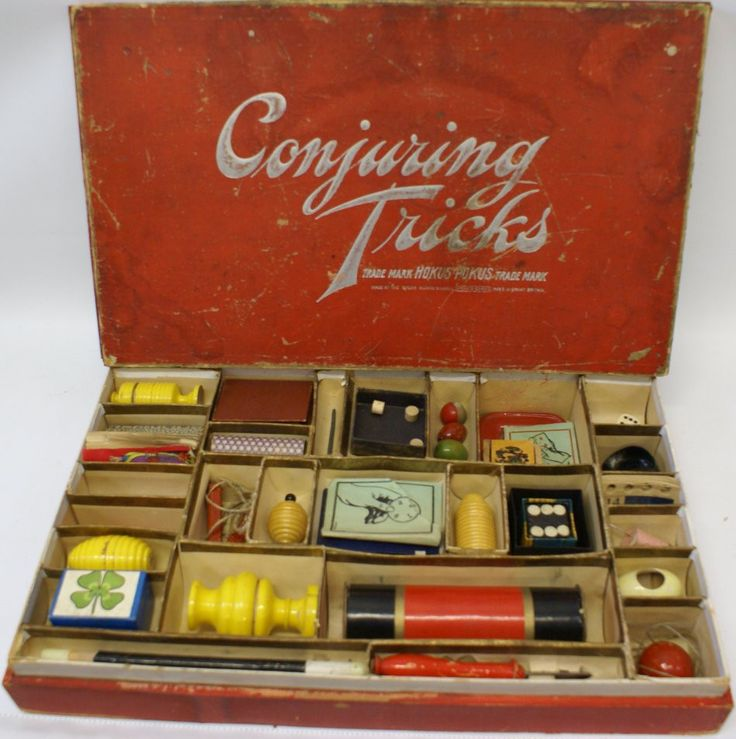 "Continental Hobby is very pleased to offer this VERY RARE British ""Conjuring Tricks"" Magic Set. Made at Spear Works Games in Bavaria. Registered trademark for Great Britain. Wooden dovetailed box meas"