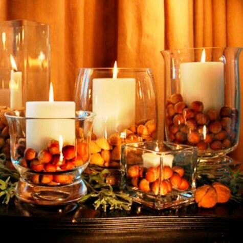 Simple Fall Decor. Get Hurricane vases from TJ Maxx, Marshalls, Ross and fall decor from Hobby Lobby or JoAnne's