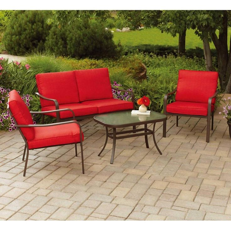 Conversation Patio Set Loveseat 2 Sofa Chairs & Sofa Table Outdoor BBQ New Red #1