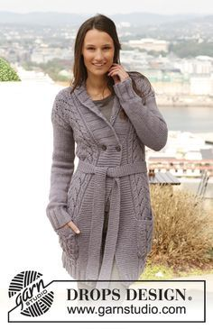"""Knitted DROPS jacket with cables, lace pattern and band collar in """"Nepal"""". Size: S - XXXL. ~ DROPS Design"""