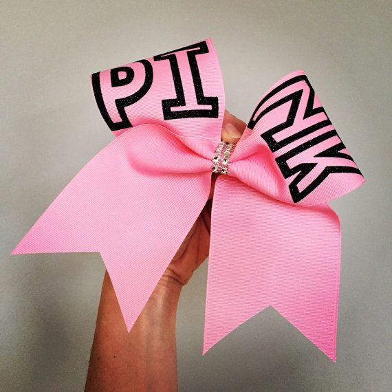 PINK Black glitter Big Pink Cheer Bow LOVE PINK by TalkToTheBow