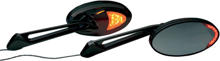 Victory CUSTOM BLACK LED ACCENT MIRRORS offer additional turn signals bright Led blinkers on custom Victory Motorcycle Mirror fits Vegas, Boardwalk, Highball, Cross Country, Cross Roads, Judge, Kingpin and more