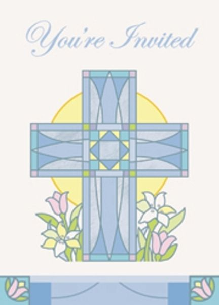 Sacred Cross Blue Christening Communion Party Invitations With Envelopes - 8 Pack