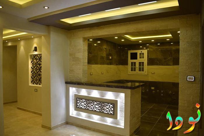 مطبخ امريكاني مزين بالكامل باسقف جبس جبسوم بورد مع إضاءة كاملة Black Decor Exterior Design Interior Design
