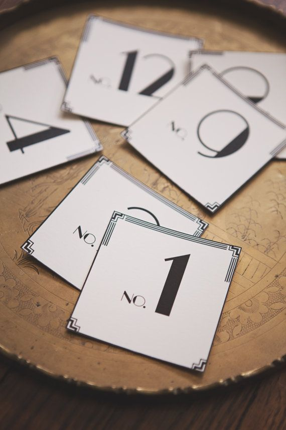 Art Deco Table Number Cards (1-12) by Tuck & Bonté on Etsy