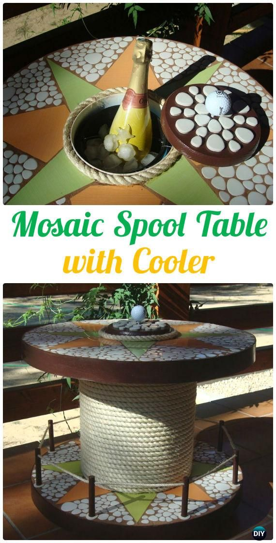 DIY Mosaic Wood Spool Table with Cooler - Wood Wire Spool #Furniture Recycle Ideas