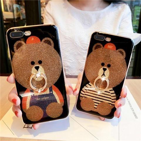 携帯カバー iphone8 ライン line ブラウン熊 brown bear アイフォン7s/7/6s/6 ケース iphone7plus/6plus 可愛い ラインストーン キラキラ ストラップ付き 指輪