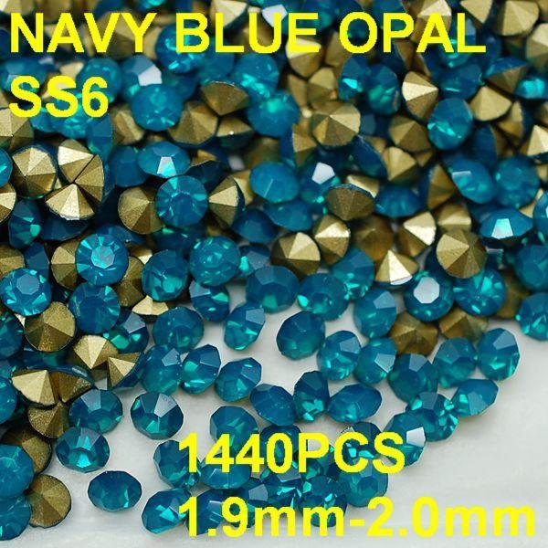 СУ-6 1440 шт./лот 1.9 мм-2.0 мм Мода Ювелирные Изделия Синий Кристалл Опал Горный Хрусталь для Секси Дамы Золотой Pointback 3D стразы