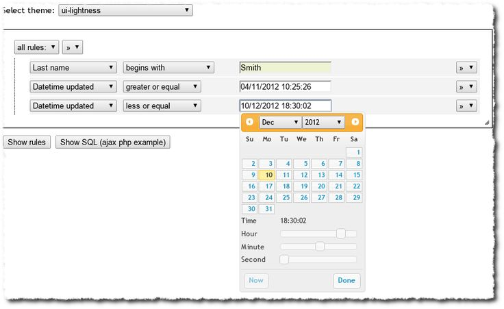 jui_filter_rules is a jQuery plugin, useful to create dataset filter rules as JSON object and the relevant WHERE SQL.