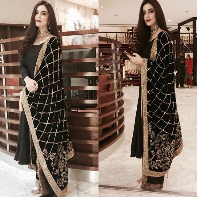 Maya ali spotted wearing this gorgeous black velvet shawl by @mohsin.naveed.ranjha Jewellery by @samreenvance last night.  #MohsinNaveedRanjha #MayaAli @mayaaliofficial