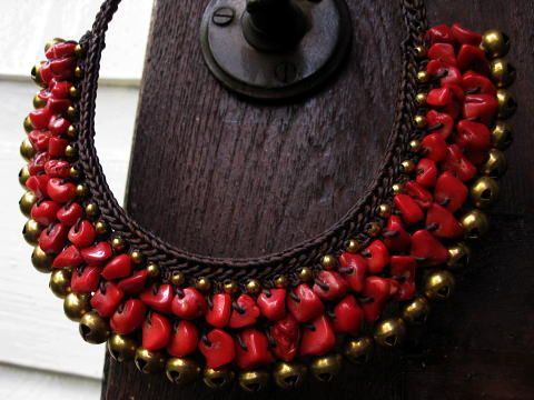 Crochet ethnic style Asian necklace - Handmade woven through the Red Coral and brass color bell of a thin hemp yarn of waxed