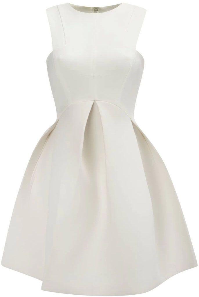 White Round Neck Sleeveless Flare Pleated Dress - Fashion Clothing, Latest Street Fashion At Abaday.com