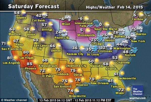 Saturday February 14 2015 forecast