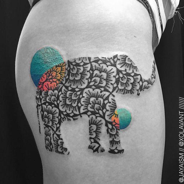 #tattoofriday - Padrões geométricos elefante por Jaya Suartika, Jayaism Tattoo;
