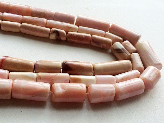 Pink Opal Pipe Beads Peruvian Pink Opal Plain by gemsforjewels