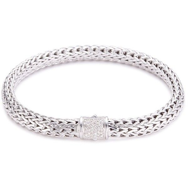 John Hardy Diamond silver small woven chain bracelet (3.890 BRL) ❤ liked on Polyvore featuring jewelry, bracelets, metallic, john hardy jewellery, john hardy jewelry, chain jewelry, silver bangles and john hardy