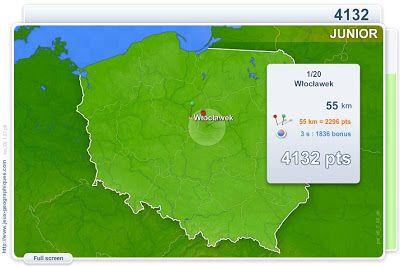 Polska: położenie miast: quiz online