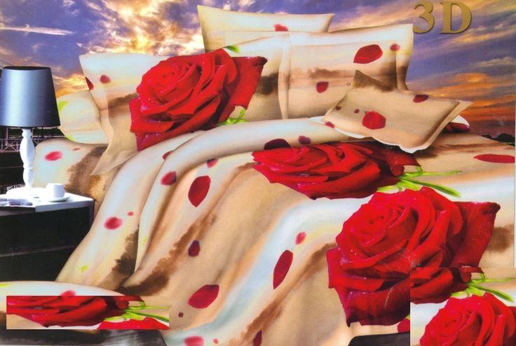 Béžová obliečka na posteľ motív červené ruže