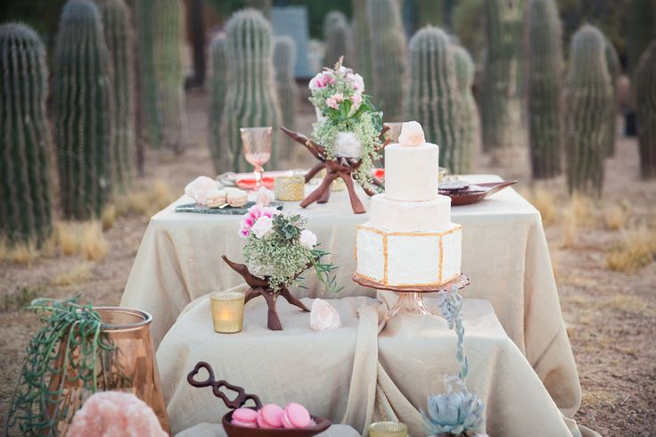 Himalayan Sea Salt Cake Table Inspiration. Our Champagne Crush looks stunning in this chic desert design.