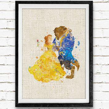 Beauty and the Beast Watercolor Print, Belle Disney Princess Baby Nursery Room Art, Minimalist Home Decor Not Framed, Buy 2 Get 1 Free!