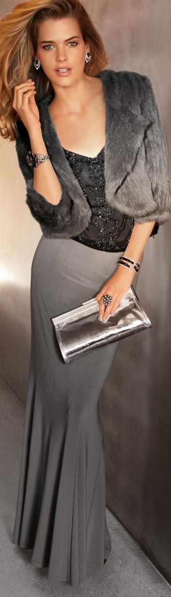 Love this look....faux fur only, please! Smoky grey is beautiful, especially with a little bling.