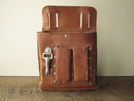 Brown Leather Tool Belt Pouch / Industrial by SwoonVintageAndSuch