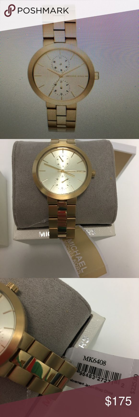 ⌚️NIB MICHAEL KORS WATCH ⌚️ Gold tone stainless steel bracelet round case 39 mm gold tone Multiplan to know Dale with stick indices three hands to subdials and Michael Kors logo quartz movement water resistant Michael Kors Accessories Watches