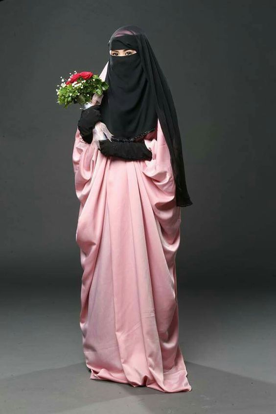Pink Jilbab with Niqab and Gloves