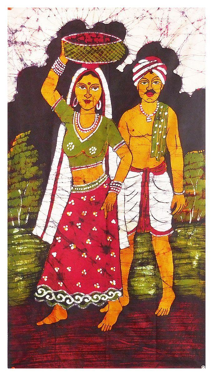 Farmer Couple (Batik Painting on Cotton Cloth - Unframed)