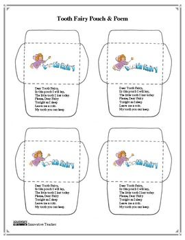Tooth Fairy Pouch with Poem