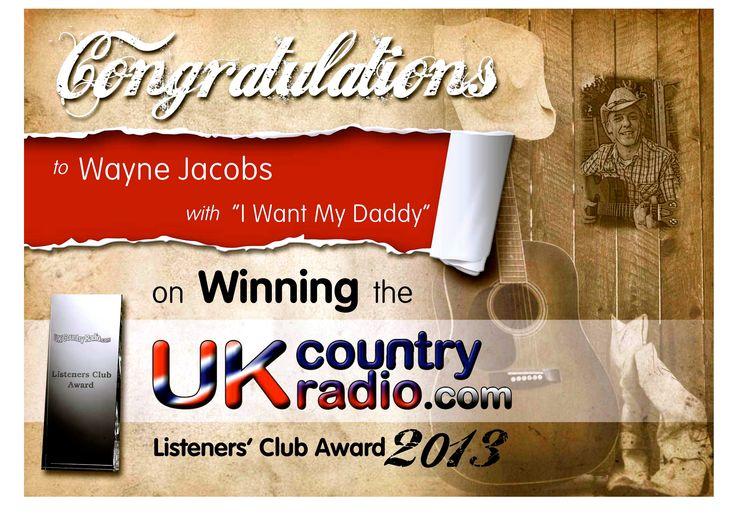 Wayne Jacobs Won UKCountryRadio.com Listeners Club Award 2013