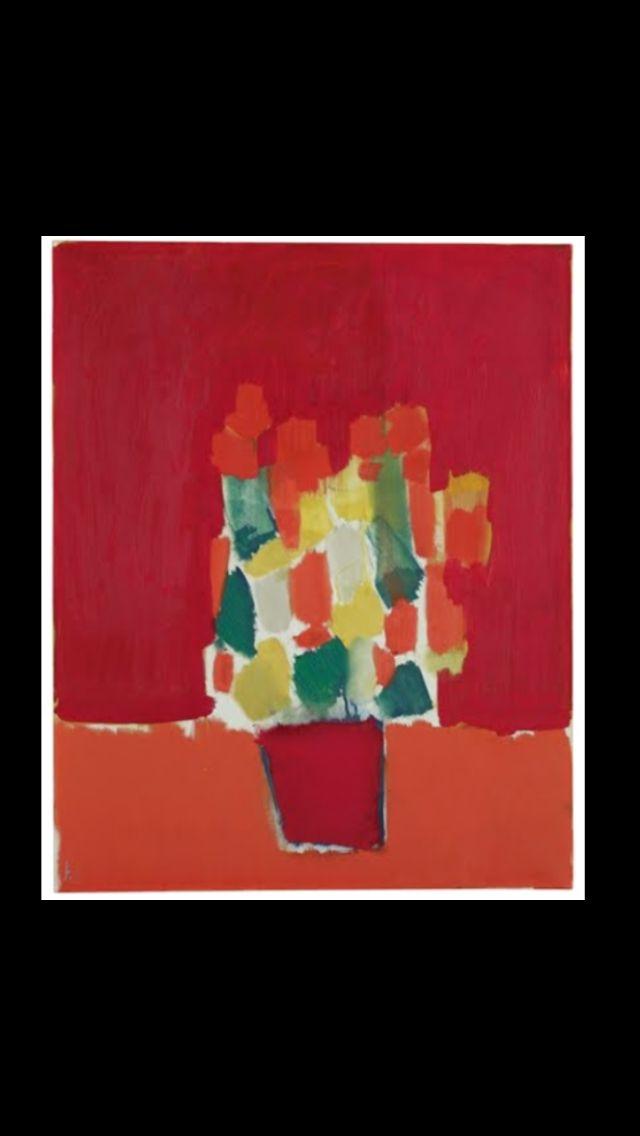 """Nicolas De Staël - """"Fleurs rouges"""", 1952 - Huile sur toile - 81,3 x 65,5 cm (*)"""
