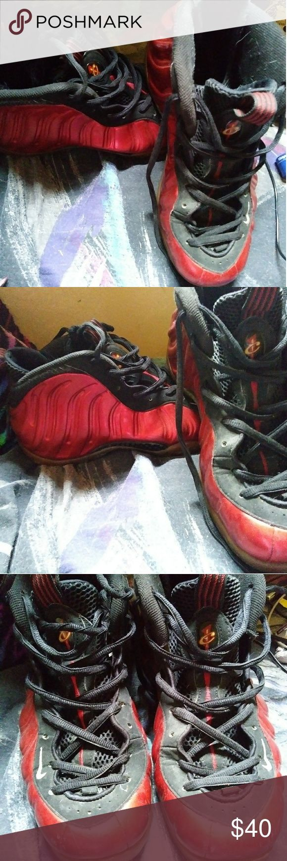 Red and black foamposites Minor scratches and need to be whiped down . all can be seen in pictures . 60 out of 100 condition wise . no trades , offers are welcome Nike Shoes Sneakers