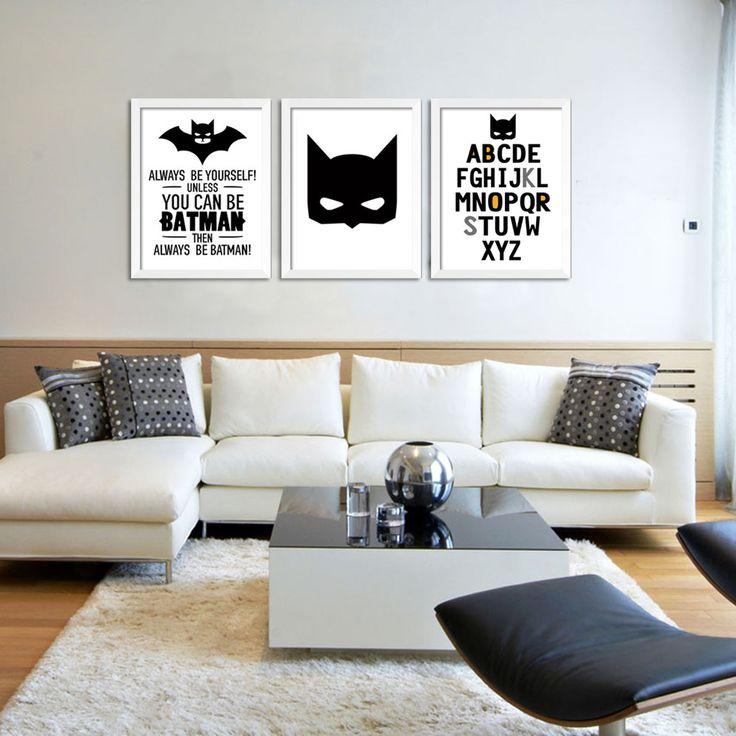 3 шт. wall art картина Мультфильм Бэтмен печати плакат холст для живописи на стене Дома декоративные Рамки не входит купить на AliExpress