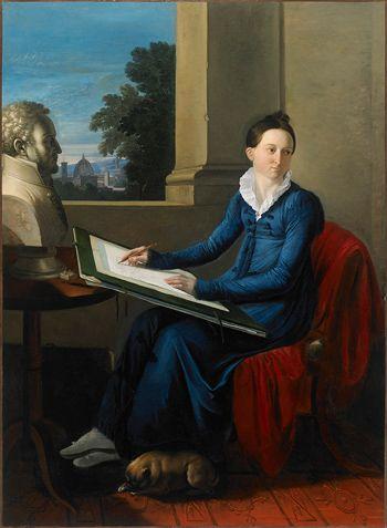 Jacques-Lucques Barbier-Walbonne - Portrait of baronne Fauchet drawing her husbands bust