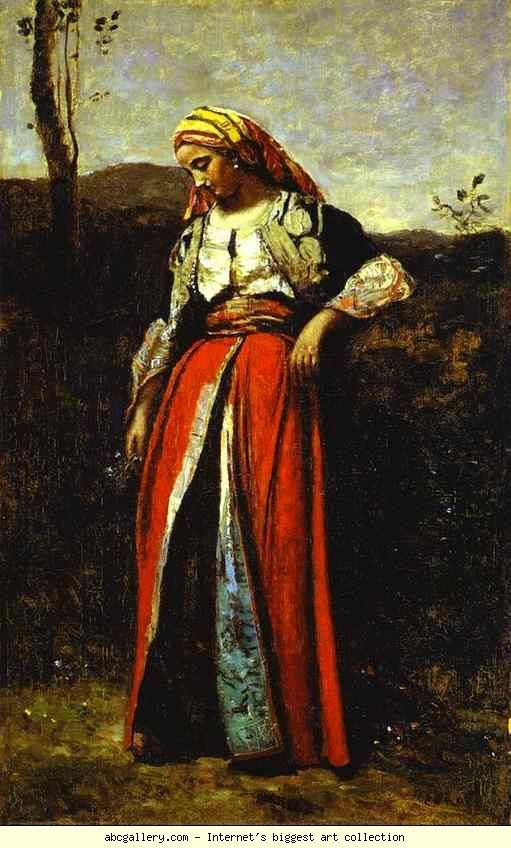 Jean baptiste camille corot pensive woman in oriental for Camille corot