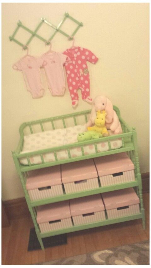 Painted Jenny Lind Changing Table. Baby Pink And Pistachio Green.