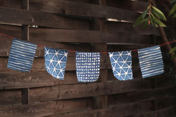 Indigo Dyed Flags by thislittlecoyote on Etsy, $35.00