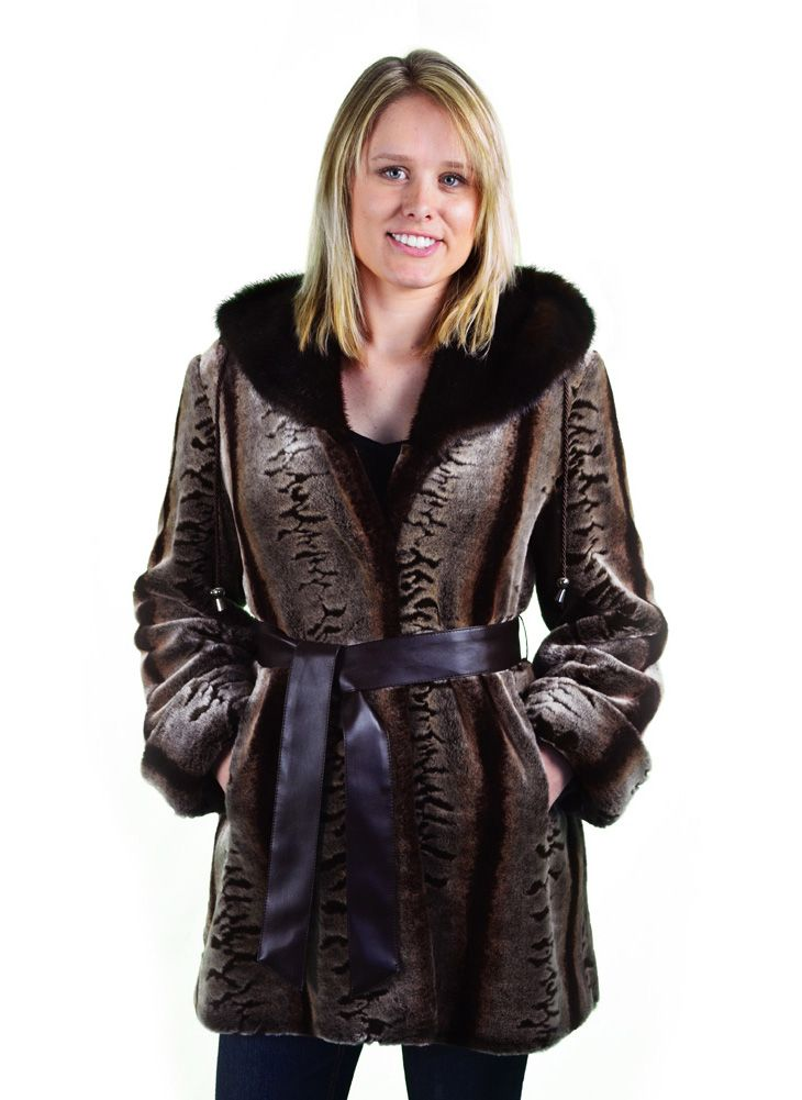 EMBOSSED CHINCHILLA  32 Inch Hooded Faux Fur Coat