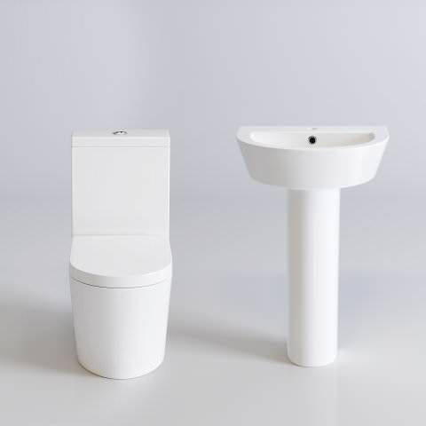 Lyon II Close Coupled Toilet & Pedestal Basin Set - soak.com