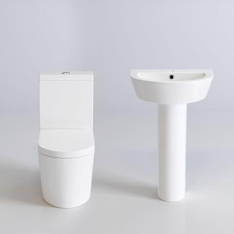 Lyon II Close Coupled Toilet & Pedestal Basin Set - soak.com
