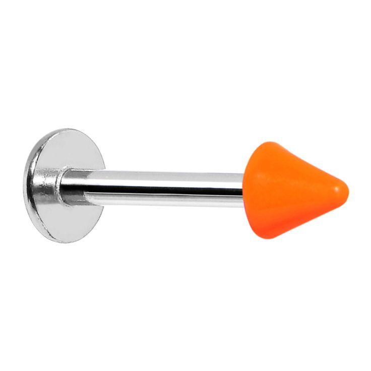 "16 Gauge Orange Neon Cone Labret Monroe Tragus Ring - 5/16"""