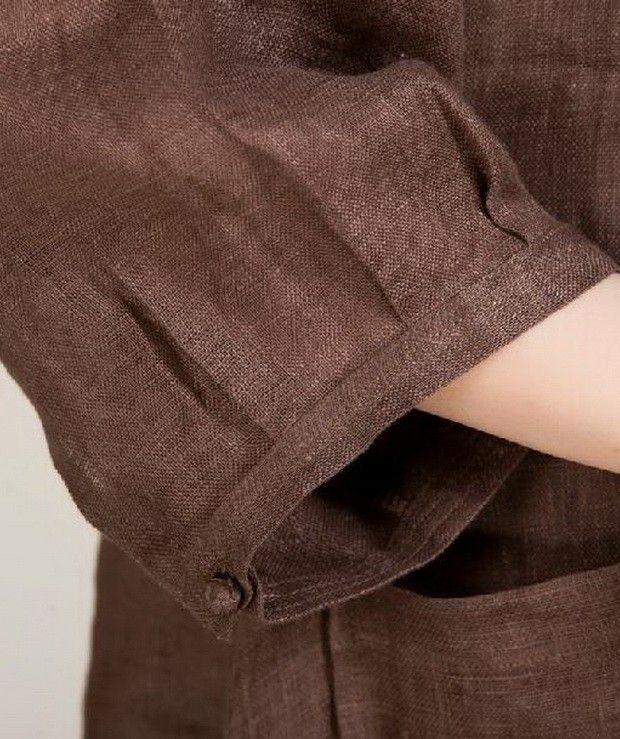 Side Pockets Long Hem Linen Shirt