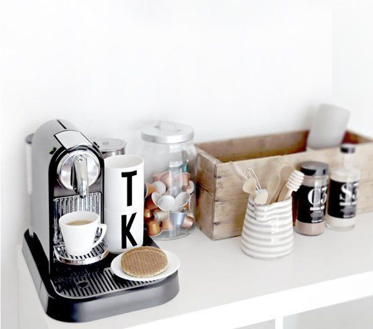 Via Apartment Therapy, the home office coffee station of Only Deco Love's.