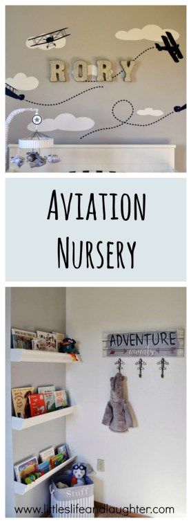 A sweet boy's aviation nursery using the colors gray, light blue, navy, and red.