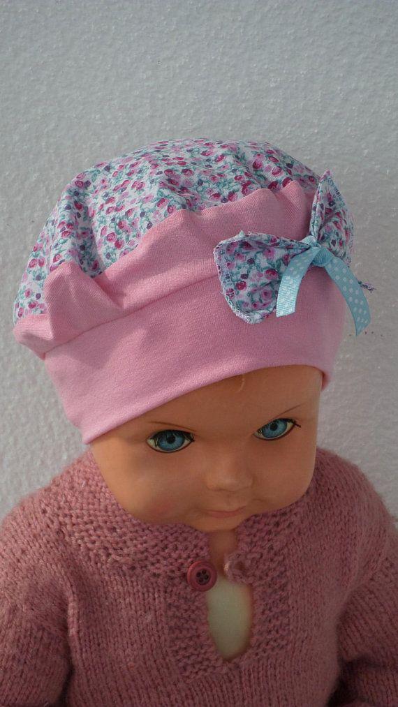 bonnet béret chapeau turban de créateur  pour bébé  en jersey coton rose  imprimé fleurs linevacréations extensible et doux ba2931a1ee0
