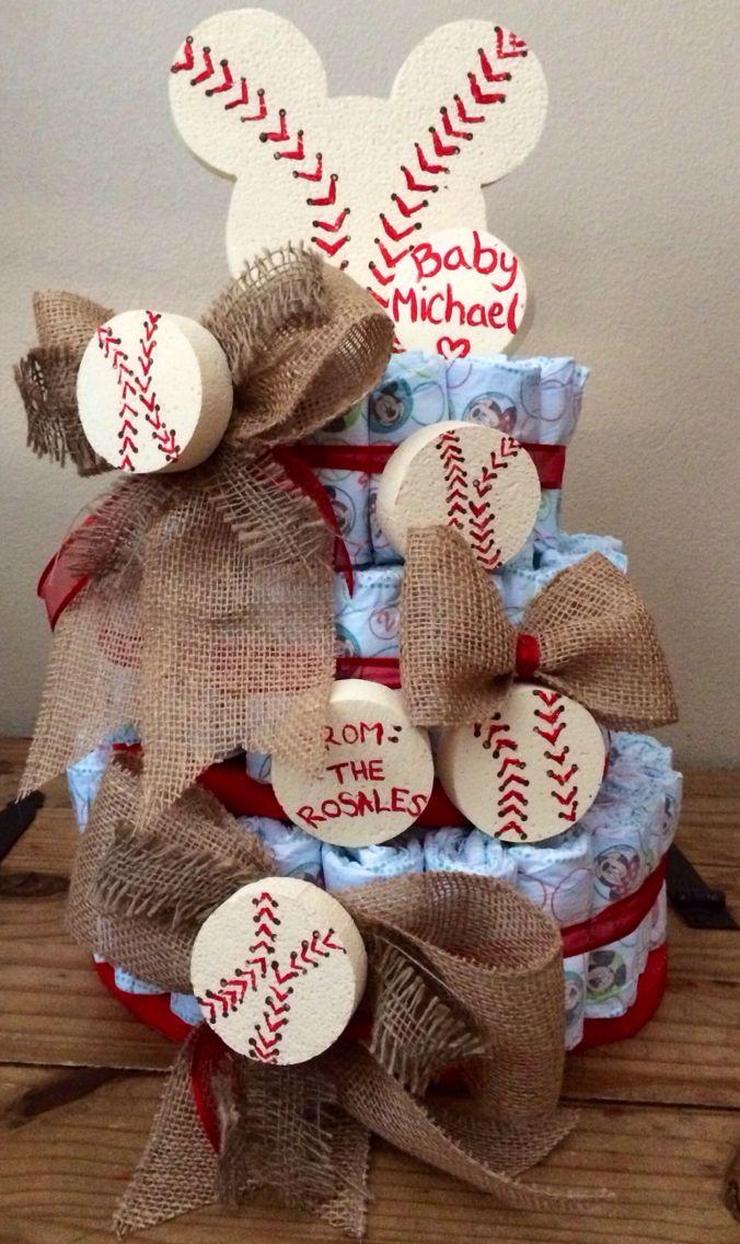 Vintage baseball & Mickey diaper cake
