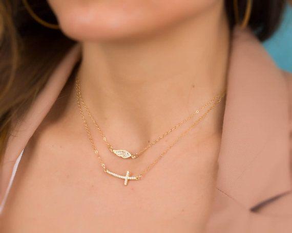 Gold Cross necklace / Sideways cross necklace / Cz Cross necklace / Layered cross necklace/Gold cross necklace/ Silver cross necklace|Matton