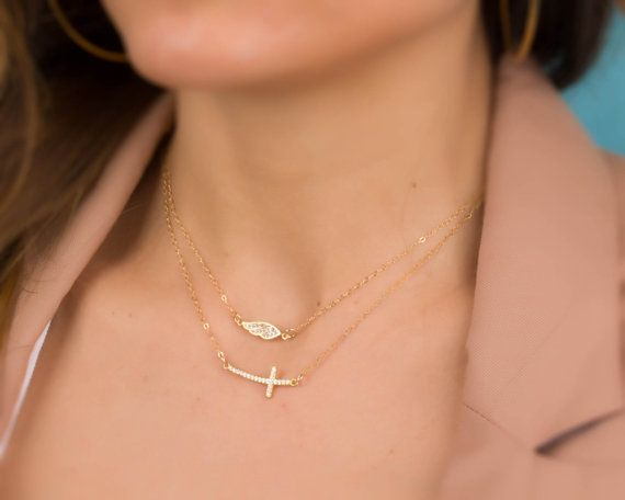 "Sideways cross necklace, layered cross necklace, gold filled necklace, cross jewelry, gold cross necklace, cubic zirconia necklace, ""Matton"""